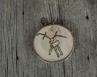 Wood Slice Deer Ornament, Aspen Slice Ornament, Tree Branch Ornament, Wood Slice Deer, Rustic Reindeer Ornament, Rustic Christmas Ornament