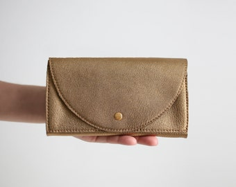 Clutch Wallet Bronze, Leather Clutch, Secretary Wallet, Big Leather Wallet