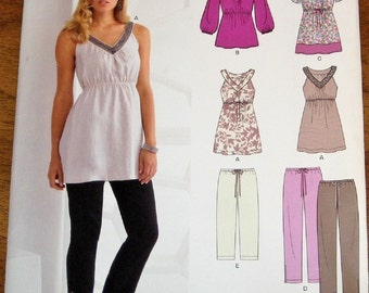 Easy Sewing Pattern Simplicity New Look 6033 Tunic Top Lounge Pants Women Miss Ensemble Size 6 8 10 12 14 16 Bust 30 31 32 34 36 38 Uncut FF