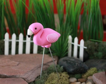 Polymer Clay Flamingo - Mini Flamingo - Miniature Flamingo - Terrarium Accessory - Fairy Garden - Miniature Garden