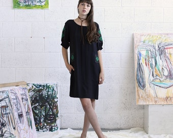 SALE 20% OFF Embroidered Dress, Black Midi Dress, Black Casual Dress