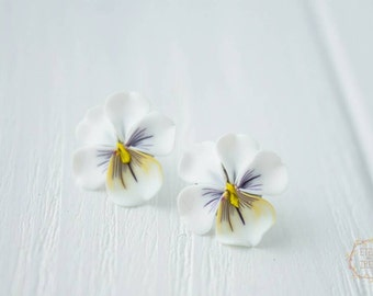 White Yellow Pansies Kiss-me-quick Stud Earrings Wholesale Small Hypoallergenic Polymer Clay Studs Women Accessory Wedding Bridal Gifts