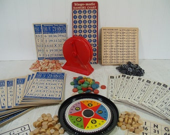 Huge BINGO Collection of Games & Equipment - Vintage Wooden Bingo Caller and Player Chips, Player Cards and Caller Charts for Repurposing