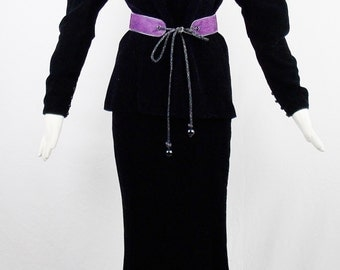 Vintage YVES SAINT LAURENT 2 Pc Evening Black Velvet Top and Maxi Skirt Wth Purple Peasant Leather Belt From Russian Collection Size 40