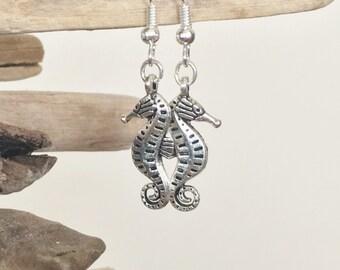 Sea Horse Earrings, Gifts for Her, Silver Seahorse Jewelry, Seahorse Charms, Coastal Jewelry, Coastal Earrings, Sea Animal Jewelry