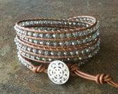 Beaded wrap bracelet, light green, gray, tan leather, Greek leather, boho, beach