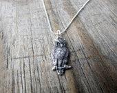 Owl Necklace, simple, silver owl, minimalist, bird necklace