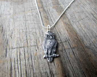 Owl Necklace, simple, silver owl, minimalist, bird necklace