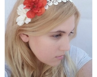 Reserved Orange Flower Headband - Cream Lace Headpiece with Czech Glass - Gold Bridesmaid Headband