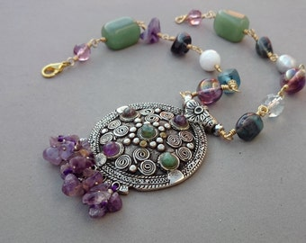 Chunky Purple Amethyst Necklace - Purple and Green Necklace with Fluorite, Aventurine, Czech Glass and Brass