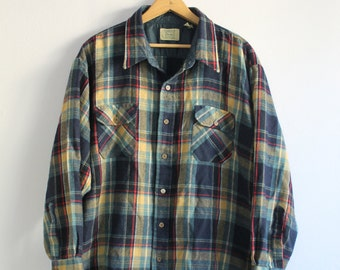 Vintage Blue + Yellow + Red Plaid Flannel Shirt XL