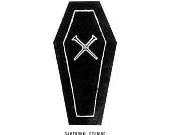 LEATHER or COTTON Coffin & Crossed Nails Patch