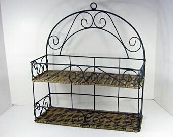 Vintage RUSTIC WICKER SHELF Metal & Woven Wall or Standing Rack Bath Bed Kitchen 2 Shelves
