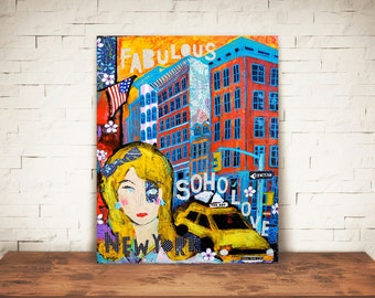 SOHO GIRL-Soho art-soho new york art-Soho home decor-Soho new york art print-Soho wall art-soho gift-new york art gift