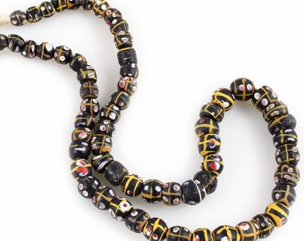 Antique Venetian Trade Beads 64 Matched Fancy Glass Beads Strand, Mali