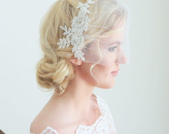 Ivory Lace Veil with Pearls and Crystals Bridal Wedding Accessories