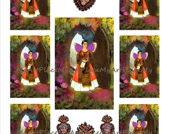 Frida Kahlo Art, Frida Clip Art, Frida Art, Frida Collage, Frida Digital Download, Frida Shrine, Butterfly, Mariposa, Mexican, Scrapbooking