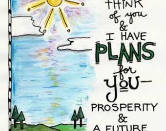 Bible Verse Jeremiah 29:11 Hope and Plans for You Illustrated Watercolor print