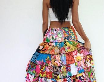 Skirt SM78N Patchwork Cotton Thailand Handmade Tiered Long Boho Gypsy Hippy Broomstick Lagenlook Woman Ladies