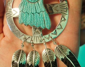 Medicine Wheel Feather Pendant with Turquoise Carved Eagle and Feathers in Sterling Silver
