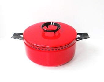 Vintage Red Enamelware Pot
