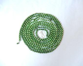 vintage glass bead garland, green garland, Christmas tree decor, vintage Christmas, 103 inches