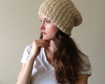 Oatmeal Knitted Slouchy Hat / Beige Neutral Tan Cream Slouch Beanie / Alpaca Yarn
