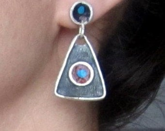 Triangle Circle Geometric Earrings, Black Oxidized Sterling Silver, Turquoise, Blue, Stud Dangle, Handmade by Jewelry Artist