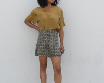 Vintage mini skirt  A-line skirt 90's high waist button front skirt