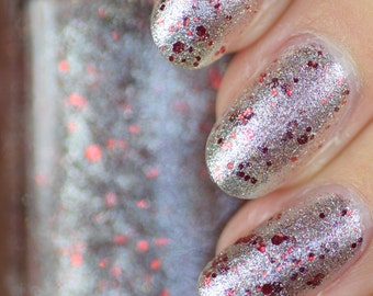 Ember Silver Foil and Red Glitter Nail Polish 15ml (.5oz)
