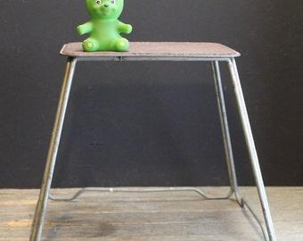 Vintage Metal Step Stool // Small Table // Urban Industrial Stool