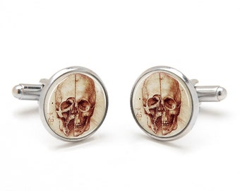 Skull Cufflinks - Human Skull Jewelry - Leonardo da Vinci Cufflinks - Cool and Unique Suit Accessories