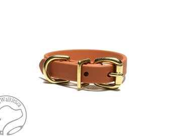 "Caramel Brown Beta Biothane Dog Collar - 5/8"" (16mm) - Small Dog Collar - Brass or Stainless Steel Hardware - Leather Look and Feel"