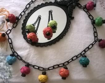 Mid century novelty design Chinese lantern necklace & earring set,  1950's Pake Muu