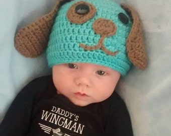 Puppy Dog Earflap Crochet Hat