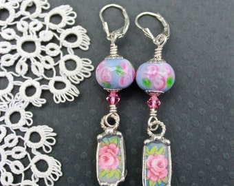 Earrings, Broken China Jewelry, Broken China Earrings, Lampwork Beads, Pink and Blue Floral, Sterling Silver