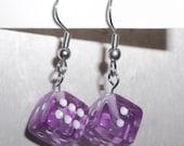 Fun & Funky Lavender / Lilac Dice Earrings Casino Wear!