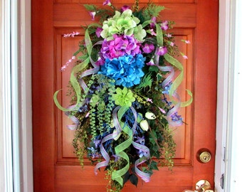 "Spring/ Summer wreath ""Cottage Garden"", teardrop floral swag, front door summer wreaths, vertical floral swag, door swag, hydrangea wreath"