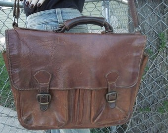 Vintage I Medici Firenze Italy Leather Briefcase Attache Laptop Bag Tote Messenger Handbag