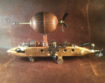 "Steampunk Sculpture, ""Airship I"" Assemblage Art Object, Steampunk Lamp"