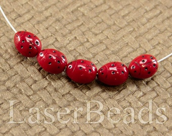 Ladybug beads 20pc 10mm Red ladybug with black dots Opaque Czech glass insect beads Animal Black dotted