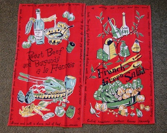 1950s Linens,  Kitchen Tea Towel, 1950s Mid Century Towels, 2 Cotton Kitchen Towels Red, Novelty Print Salad and Roast Beef with Wine