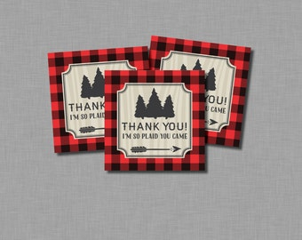 Plaid you Came Lumberjack You Tag birthday baby shower James Finley MB19 Printable - Instant Download