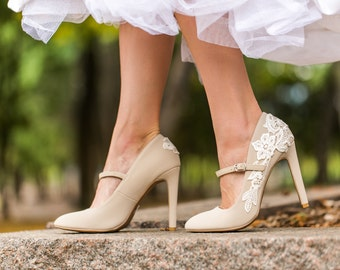 Wedding Shoes - Beige Bridal Heels, Bridal Shoes, Mary Jane Shoes, Wedding Heels, Beige Pumps, Bridesmaid Shoes with Ivory Lace. US Size 8
