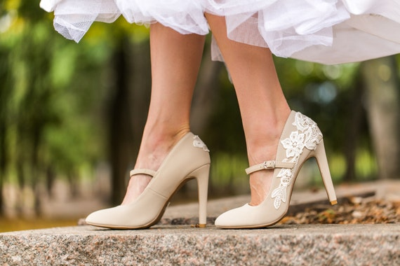 Beige Heels with Ivory Lace