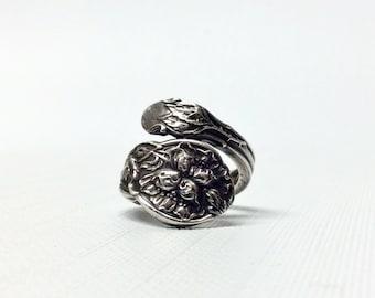 Gorham Sterling Silver Spoon Ring - Botanical Floral Art Nouveau - Size 5.5
