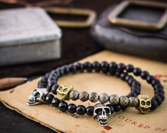 6mm - Set of 2 - Matte black onyx beaded stretchy bracelets with skulls, mens bracelet, bracelet stack, skull bracelet, bead bracelet