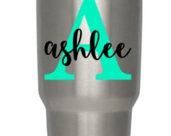 Personalized Monogram Vinyl Decal | Tumbler Decal | Water Bottle Decal | Rambler decal | Car Decal  Wine Glass Decal | Mug Decal