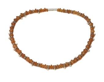 Chain, 925/000 Silver, Carnelian, orange.