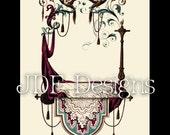 Instant Digital Download, Victorian Era Graphic, Ornate Banner Bird Frame, Scroll, Printable Image, Scrapbook, Label, Wedding, Invitation